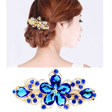 1 pc Graceful Crystal Flower Rhinestone Hairpin Charming Scrunchy Tiara High Quality Hair Pin hair accessories
