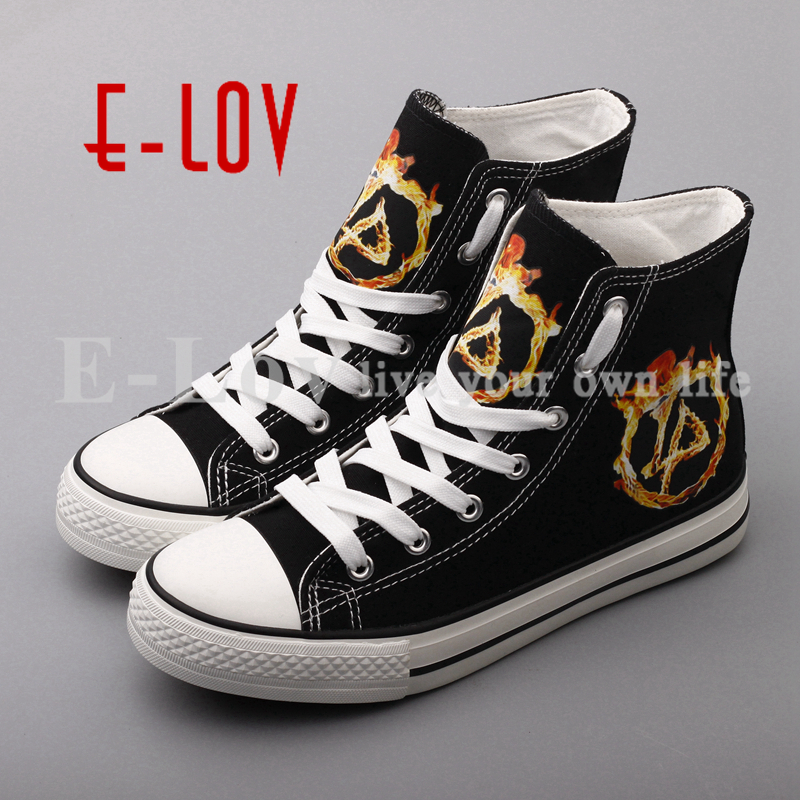 Free Shipping Printed Linkin Park Band Canvas Shoes Rocky Stars Fashion Graffiti Casual Shoes For Women Girls Valentine Couples <br>