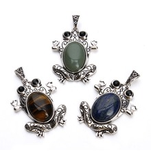 Antique Silver Color Natural Stone Pendant Frog Necklace Charms (no chian) Druzy Quartz Crystal Pendant Fashion Jewelry Finding