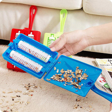 Handheld Dual Brush Cleaner Collector Roller Carpet Table Crumb Sweeper Plastic(China)