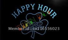 LA665- Bud Light Shamrock Happy Hour Beer Bar LED Neon Light Sign(China)