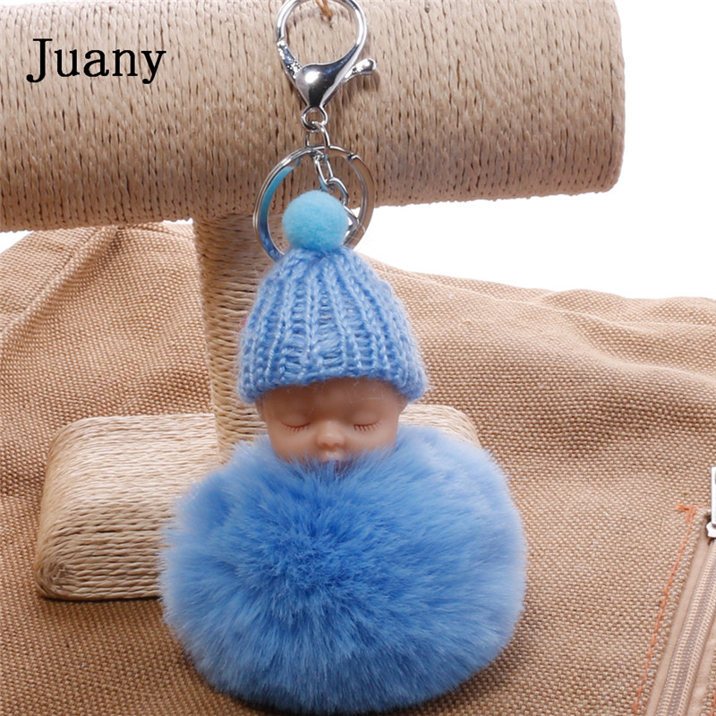 pompom key chain sleeping baby key chain cut rabbit fur ball keychain car key ring women keychian bag charm porte clef17