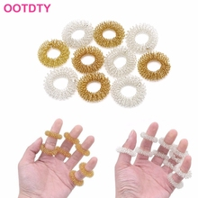 New 10Pcs Fine Health Care Finger Massage Rings Acupuncture Ring Gold Silver Plated #Y207E# Hot Sale(China)