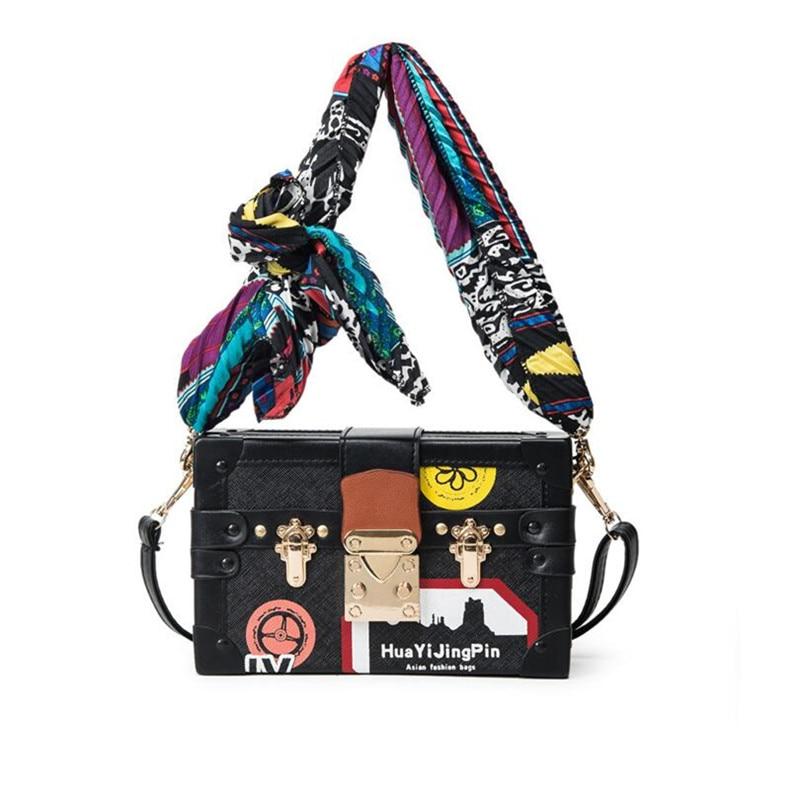 Printing design women box bag Toothpick pattern PU leather Lock women mini clutch bag Female brand Crossbody bag with Scarf<br><br>Aliexpress