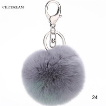 2016 New Rabbit Fur Ball Plush Key Chain POM POM Keychain Leather Tassel Pompom Car Bag Keychain Key Ring Silver Plated Jewelry