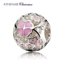 ATHENAIE 925 Sterling Silver Enamel Lucky Shamrock Best Wishes to You Charm Beads Fit All European Bracelets Necklace Color Pink