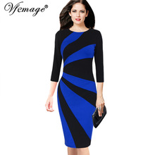 Vfemage Womens Elegant Contrast Patchwork 3/4 Sleeves Colorblock Wear To Work Official Business Party Bodycon Pencil Dress 8081(China)