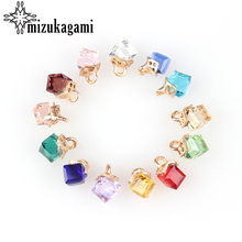 Free Shipping 12pcs Colorful Crystal Birthstones Cube Gift Charms Pendant 8MM For Glass Living Memory Locket DIY Accessories