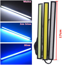 1Pcs 17CM Double Row 76 Leds White Blue COB DRL Daytime Running Lights DC 12V External Waterproof Parking Fog Bar Lamp Car motor(China)