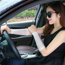 Women Arm Sleeves To Cover Tattoos Lace Upper Arm Sun Protection UV Arm Covers Driving Fingerless Long Gloves Scar Cover(China)