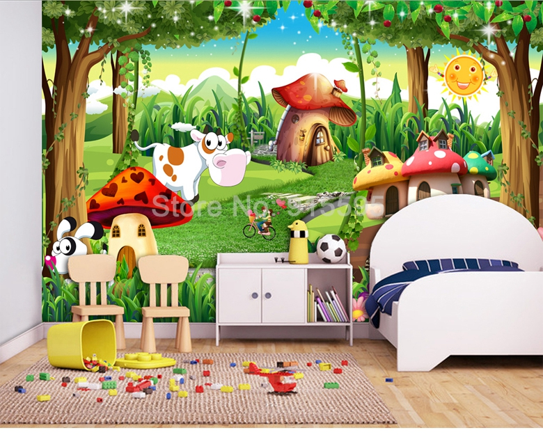 HTB1nS.ZnBUSMeJjy1zjq6A0dXXa7 - Custom 3D Photo Wallpaper Children Room Bedroom Cartoon Forest House Background Decoration Painting Wall Mural Papel De Parede