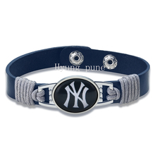 6pcs/lot! New York Baseball Genuine Leather Adjustable Bracelet Wristband Cuff 12mm Dark Blue Leather Snap Button Charm Jewelry