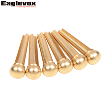 6pcs Brass Acoustic Guitar Bridge Pin With Electric Gold Plating 28mm Length 5.1mm Biggest Install Diameter(Hong Kong)