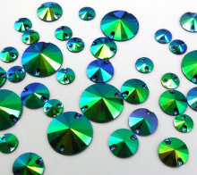 Mix Sizes,Round Resin Blue Green Rhinestones 18mm 12mm 8mm Sew-on Stones and Crystals Strass Crystal For Sew Evening Prom Dress