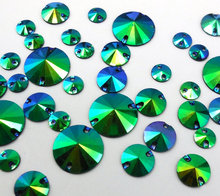 Mix Sizes,Round Resin Blue Green Rhinestones 18mm 12mm 8mm Sew-on Stones and Crystals Strass Crystal For Sew Evening Prom Dress(China)
