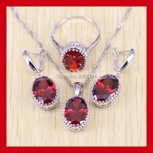 Silky 925 Sterling Silver Red Garnet Jewelry Set Simple Oval AAA Zircon Women Crystal Jewelry Free Gift Box