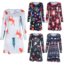 2017 Christmas Wear Women Colorful One-piece Dress Long-sleeved Dresses