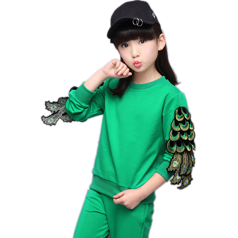 toddler girl clothing 2017 new spring girls clothing sets top solid Peacock wings long sleeve pullover+pants 2pcs kids tracksuit<br>