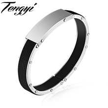TENGYI Simple Jewelry Bracelet For Man Black Cool 316L Stainless Steel Men Bracelets Bangles Can Be Engraved Best Gifts TY1113