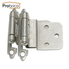 "Probrico Self Close 3/8"" Inset Satin Nickel Kitchen Cabinet Hinges CH198SN Furniture Cupboard Door Hinge(China)"