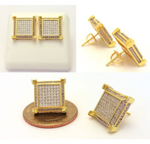 micro pave cz hiphop bling square screwback big mens gold earring sparking cubic zirconia