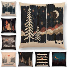 Hot Sale  Animals Wild Adventure Spot Woods Starry Night Mountains Sun Moon Winter Exploration Camping Cushion Cover Pillow Case