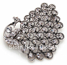 Vintage Style Antique Silver/Gold Plating Rhinestone Crystal Diamante Large Peacock Brooch