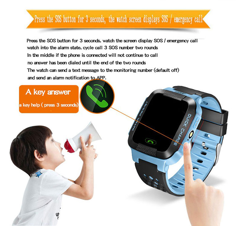 image for FROM Smart Phone Watch GPS Children Kid Wristwatch Y21 GSM GPRS Locato