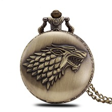 Hot Retro Nice Classical Bronze Vintage Chain Necklace Watch Animal Game of Thrones Stark Winterfell Wolf Locket Pocket Watches