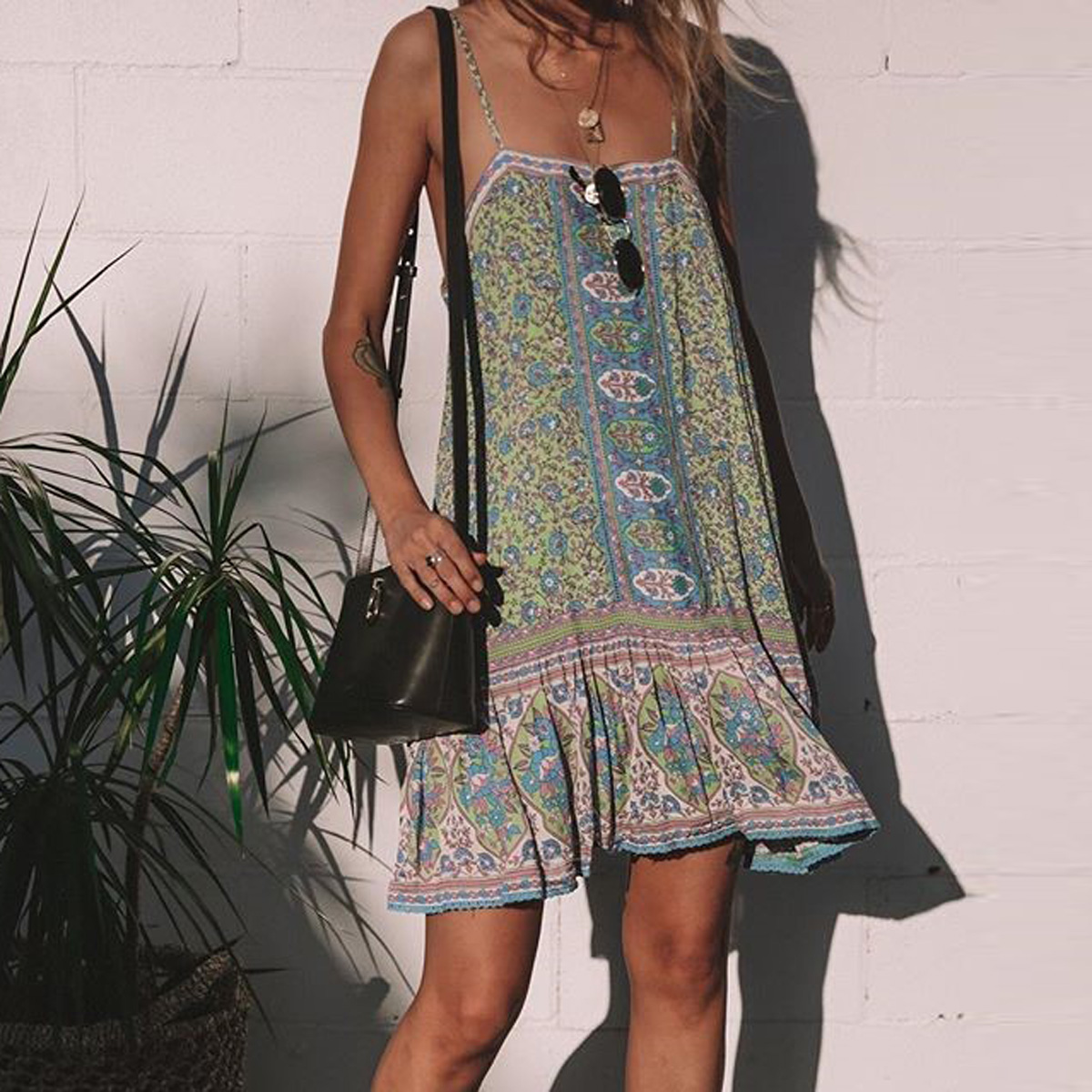 Jastie Jasmine Strappy Mini Dress Low Back Sexy Women Dresses Boho Floral Print Dress 2019 Summer Boho feminine chic Beach Dress Платье
