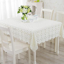Simple European Style Lace Table Cloth Thick 100% Polyester Jacquard Lace Tablecloth Hollow Bedside Table Cloth with(China)