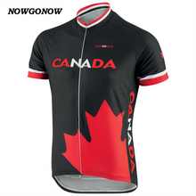 MEN hot cycling jersey black Canada flag bike wear tops national team summer clothing outdoor sportwear riding racing NOWGONOW