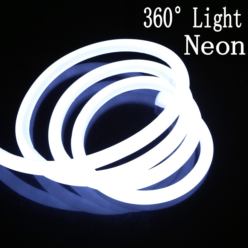 1M-50M 110V 220V 360 Degree Glow Flex Round LED Neon Rope Light Strip 2835