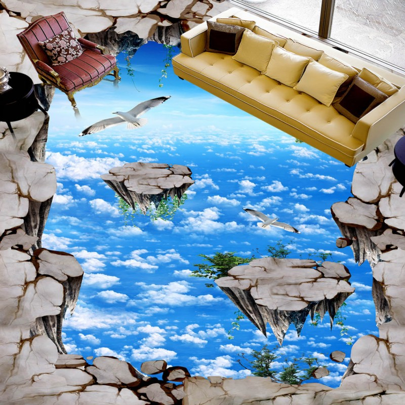 Free shipping walkway exhibition hall living room 3D Palace outdoor floor painting home decoration self-adhesive mural wallpaper<br><br>Aliexpress