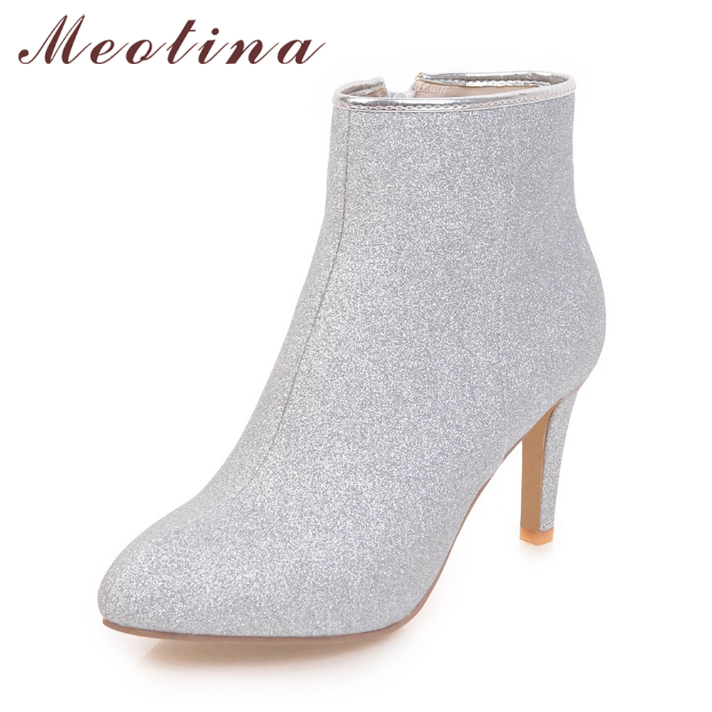 Meotina Women Ankle Boots Warm Winter Boots Zip Ladies Thin High Heel Boots Shoes Bling Sexy Party Shoes Sliver Gold Purple 43