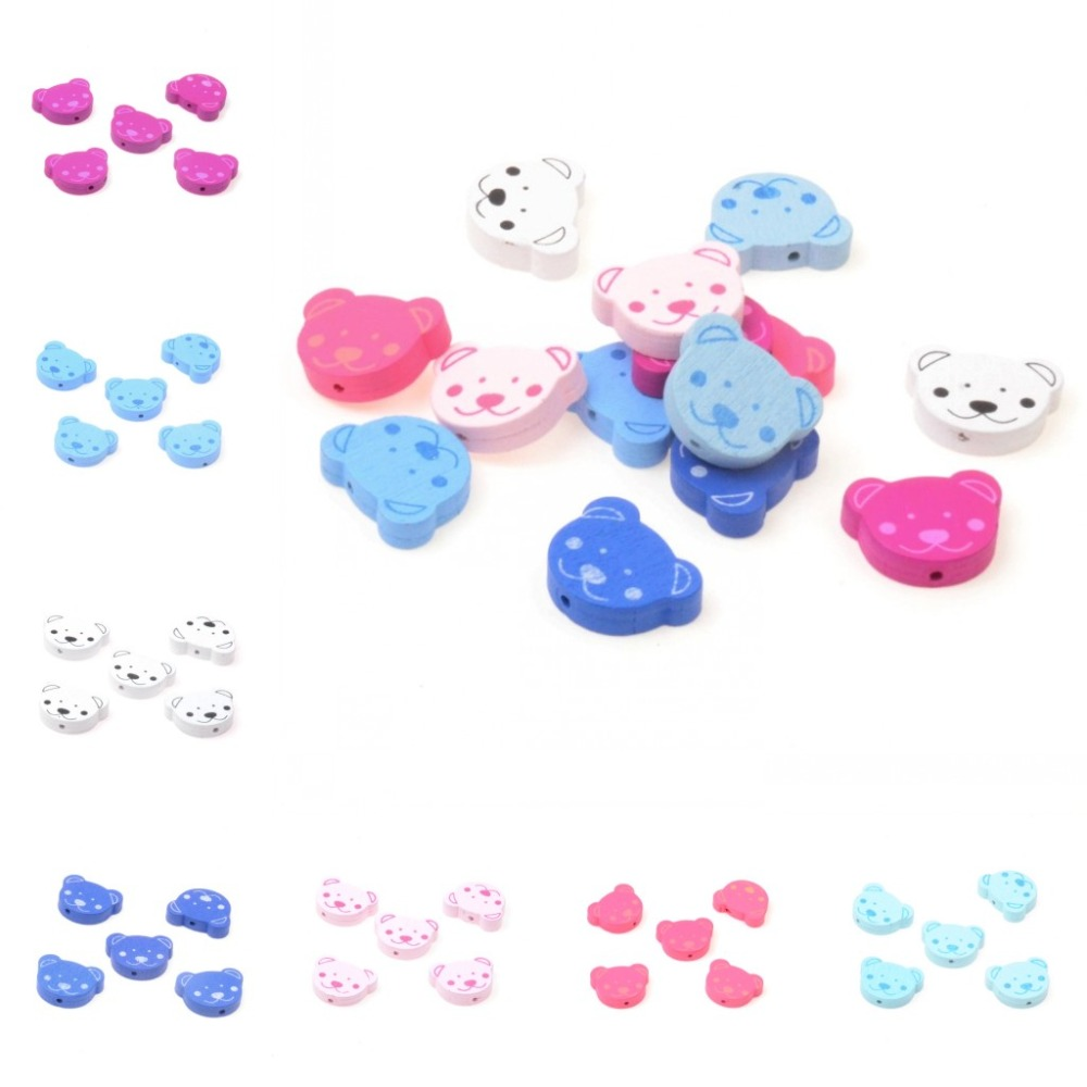 NEW Wooden Spacer Beads Bear Baby Pacifier Clip Makeing Beading Accessories 25mm