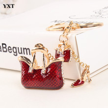 Two Red Handbag High Heel Shoe New Fashion Cute Rhinestone Crystal Car Purse Key Ring Chain Jewelry Great Delicate Gift(China)