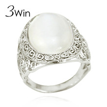 WinWinWin/ 3Win Luxury Natural MoonStone Ring European and American Hipster Lady Gifts Cat Eye Stones Opal Rings for Women
