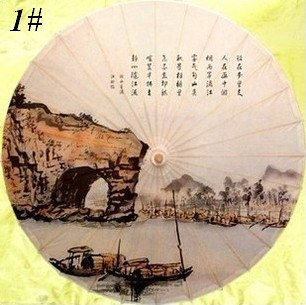 Free shipping Chinese traditional landscape painting umbrella rain-proof and sunshade oiled paper umbrella<br>