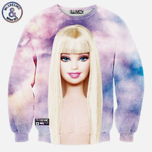 Harajuku new women's hoodies cute cartoon Barbie girl 3d print Sweatshirts women lady autumn tops clothing