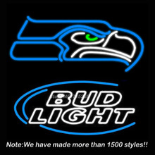 New Bud Light Seattle Eagles Neon Sign Neon Bulbs Store Display Real Glass Tube Custom Free Design Handcrafted craft 19x15(China)