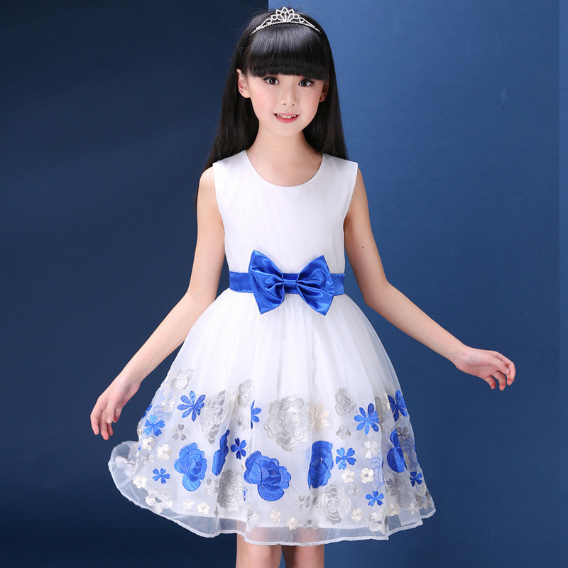 Summer Tutu Bow Dress Kids Girl Party Wear Blue Princess A-Line Dresses Floral With Bow Blet Teenage Christening Tutu Gown Cloth<br>