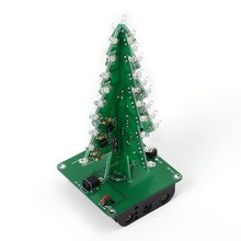 3D Christmas Tree LED DIY Kit Red Flash Lights Circuit Parts Electronic Glitter Xmas Tree Light Lamp Festival Home Decoration(China)