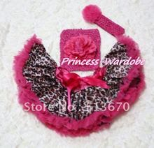 Hot Pink Gold Leopard Baby Pettiskirt, Hot Pink Peony Hot Pink Crochet Tube Top, Hot Pink Rose Headband 3PC Set MACT124