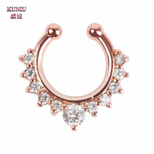 KUNIU Popular 1Piece Rose Gold Color Fake Septum Clicker Nose Ring Non Piercing Hanger Clip On Body Jewelry 2017 New