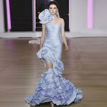 New Arrival Pale Blue Mermaid Prom Gowns 2018 Unique Design Tiered Organza Red Carpet Celebrity Wear Chic Party Dresses Custom(China)