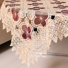 New Delicate High Quality Rectangle Polyester Embroidery Lace Tablecloth White Embroidered Organza Table Cloth Towel Covers