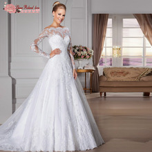 Gorgeuous Long Sleeve Lace Vintage Wedding Dress Vestido De Novia Cheap China Online Store Bridal Dresses Plus Size Wedding Gown