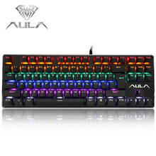 AULA F2012 Professional Blue Axis USB Wired Mechanical Gaming Keyboard 87 Keys for Desktop / Laptop High Quality(China)