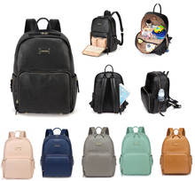 Fashion Elegant Practical PU Leather Baby Changing Nappy Diaper Bag Backpack with Changing Pad--AMB168(China)
